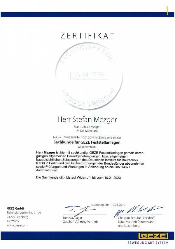 Zertifikat Sachkunde Feststellanlage