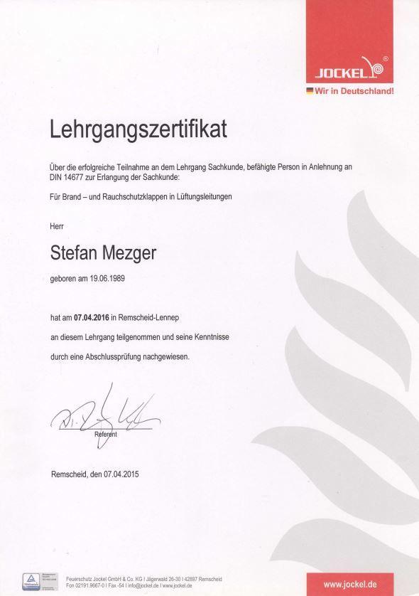 Zertifikat Brandschutzkappen