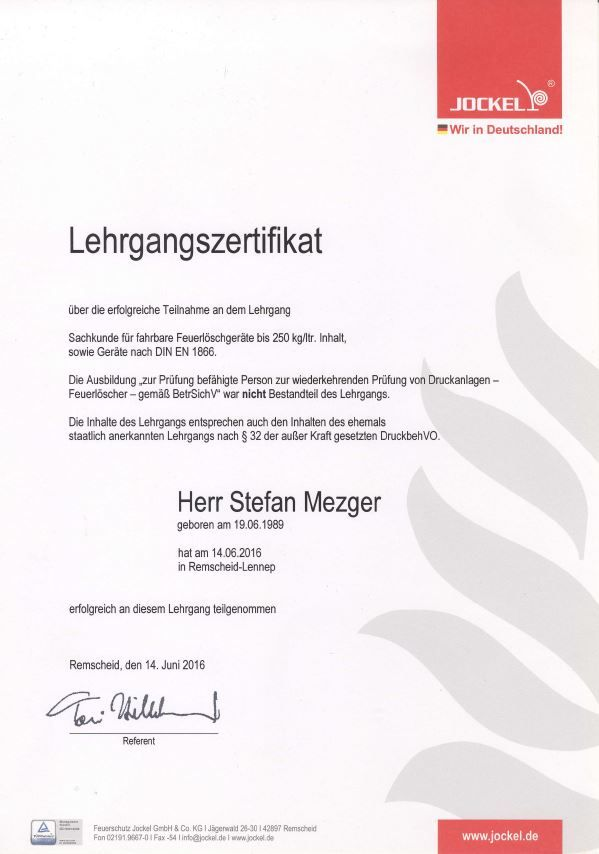 Zertifikat Fahrbare Feuerlöscher