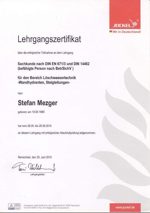 Zertifikat Wandhydranten