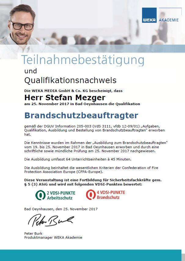 Zertifikat Stefan Metzger