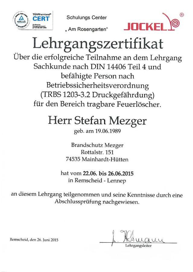 Zertifikat Feuerlöscher