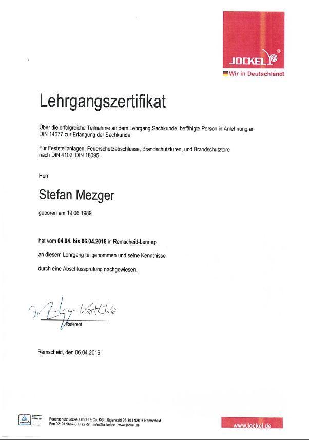 Zertifikat Brandschutztüren