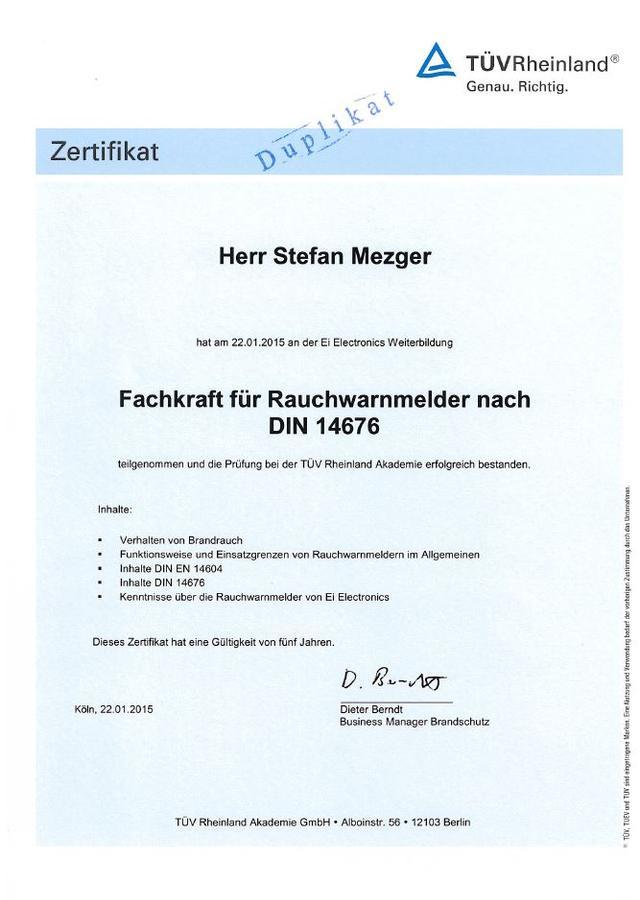 Zertifikat Rauchwarnmelder